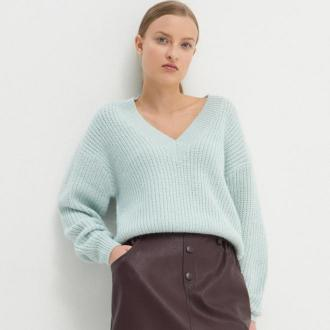 House - Sweter oversize z dekoltem w serek - Zielony