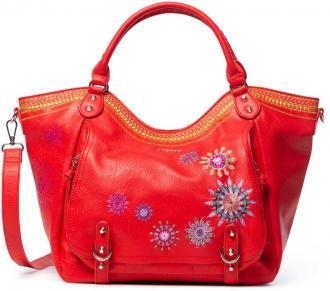 Desigual czerwona torebka Bols Ada Rotterdam z haftowaniem