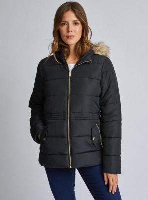Czarna pikowana kurtka zimowa Dorothy Perkins - XS