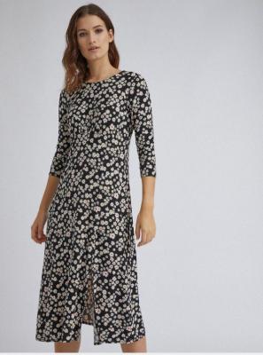 Sukienka midi w czarne kwiaty Dorothy Perkins - XS