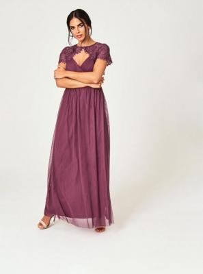 Fioletowa tiulowa sukienka maxi Little Mistress - S