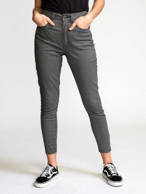 RVCA SOLAR HOUNDSTOOTH black spodnie lniane kobiety - 26