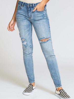 RVCA DAYLEY VINTAGE BLUE markowe dżinsy damskie - 27
