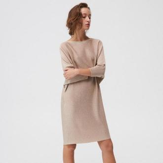 Mohito - Swetrowa sukienka oversize - Beżowy