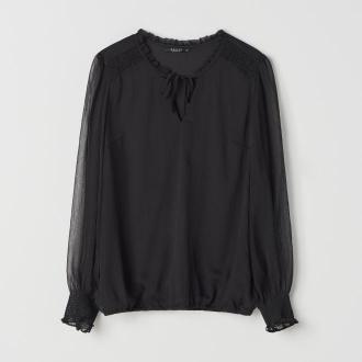 Mohito - Szyfonowa bluzka z wiązaniem przy dekolcie - Czarny