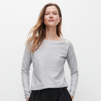 Reserved - Sweter z aplikacją - Jasny szary