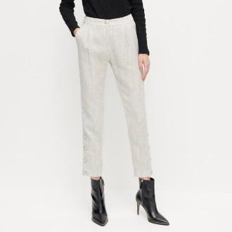 Reserved - Spodnie ze sztucznymi perłami - Jasny szary