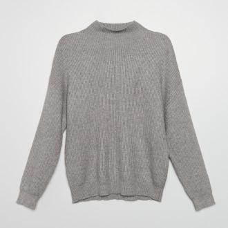 Cropp - Sweter z prążkowanej dzianiny - Jasny szary