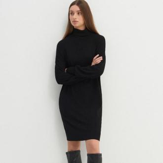 House - Dzianinowa sukienka z golfem - Czarny