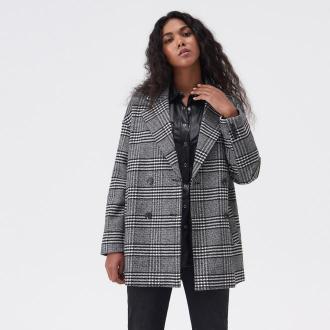 Sinsay - Dwurzędowy płaszcz w kratę - Wielobarwny