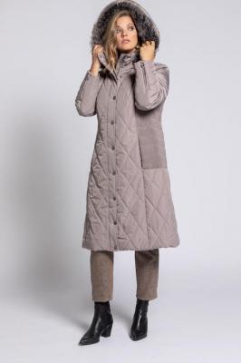 Duże rozmiary Pikowany płaszcz, damska, brązowy, rozmiar: 58/60, poliester, Ulla Popken