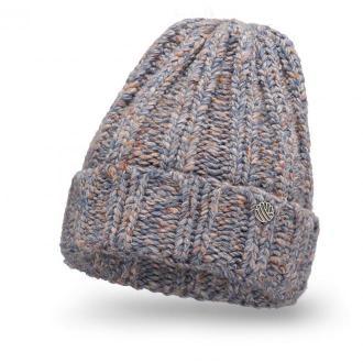 Ciepła czapka damska z wełną - Granat melanż