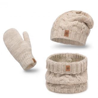 Ciepły zimowy komplet damski z rękawiczkami