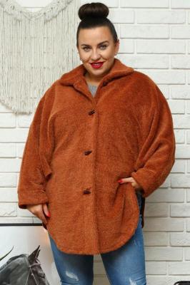 Ponczo plus size alpaka oversize swobodne ciepłe JASKÓŁKA rude PROMOCJA