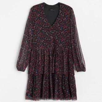 Reserved - Wzorzysta sukienka - Czerwony