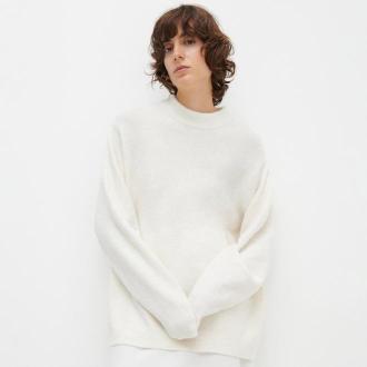 Reserved - Sweter ze stójką - Kremowy