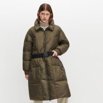 Reserved - Płaszcz z paskiem i wysokim kołnierzem - Khaki