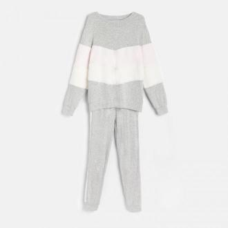 Reserved - Dzianinowa piżama ze spodniami - Szary