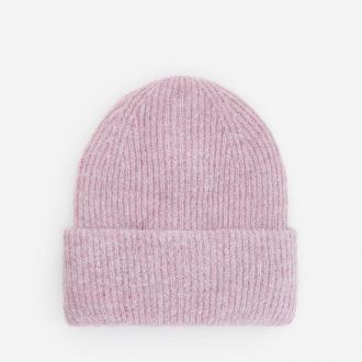 Reserved - Dzianinowa czapka w prążek - Różowy