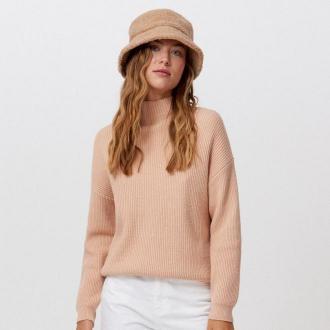 Cropp - Sweter z prążkowanej dzianiny - Beżowy