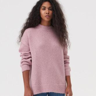 Sinsay - Dzianinowy sweter z ozdobnym splotem - Różowy