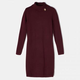 Mohito - Swetrowa sukienka z wiskozą - Bordowy