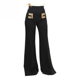 Elisabetta Franchi Spodnie Flare haftowane logo Spodnie Czarny Dorośli