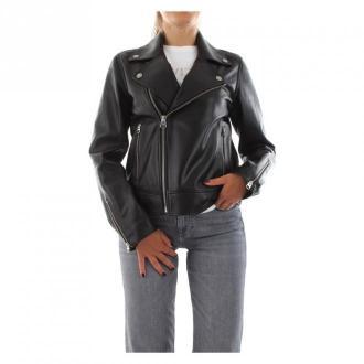Calvin Klein K20K202057 skórzana kurtka Kurtki Czarny Dorośli Kobiety
