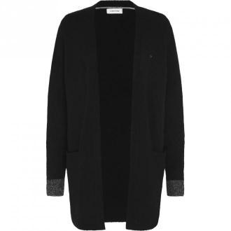 Calvin Klein Fluffy Cardigan Swetry i bluzy Czarny Dorośli Kobiety