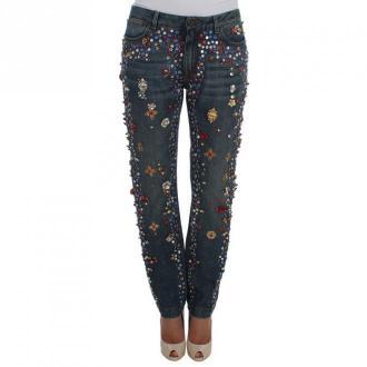 Dolce & Gabbana Kryształowe Serce zdobione dżinsy Róże Jeansy