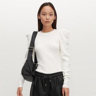 Reserved - Sweter z bufiastymi rękawami - Kremowy