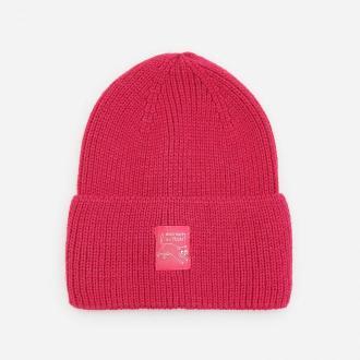 Reserved - Dzianinowa czapka z naszywką - Różowy