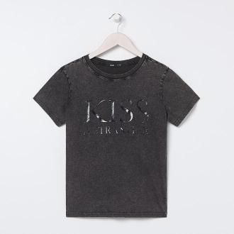 Sinsay - Bawełniany t-shirt z napisem - Szary