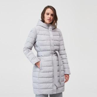 Mohito - Pikowany płaszcz z paskiem - Jasny szary
