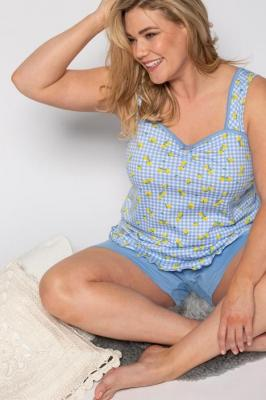 Duże rozmiary Piżama, damska, niebieski, rozmiar: 42/44, baweÅna, Ulla Popken