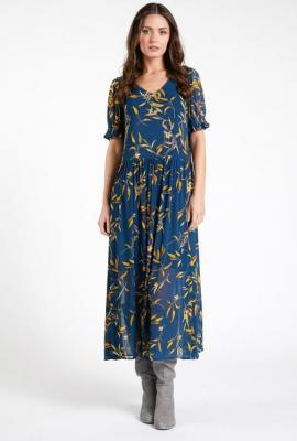 Sukienka maxi w jesienny print