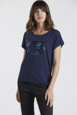 T-shirt z cekinowym panelem