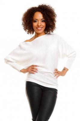 Miękki nietoperzowy sweter oversize - Biały