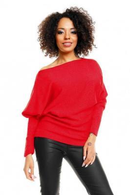 Miękki nietoperzowy sweter oversize - Czerwony