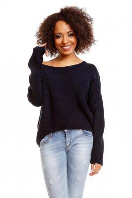 Klasyczny, krótki sweter typu oversize z dekoltem V - Granatowy
