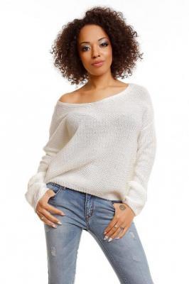 Klasyczny, krótki sweter typu oversize z dekoltem V - Beżowy