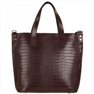 Vezze torba skórzana shopper bag bordowa wzór wężowej skóry