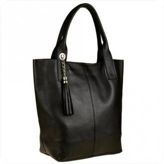 Czarna torebka damska shopper skórzana xl