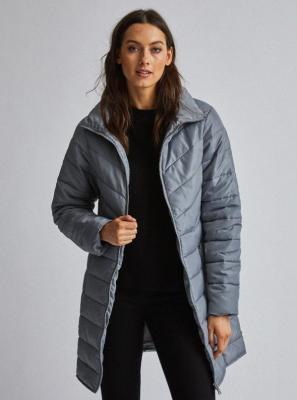 Szary pikowany płaszcz Dorothy Perkins - S