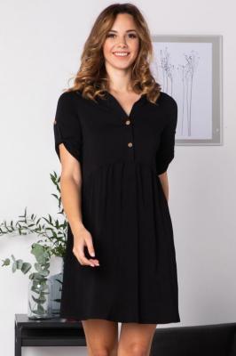 Sukienka  do paracy z wiskozy odcinana w talii z rozpinanym dekoltem DALIA  czarna PROMOCJA