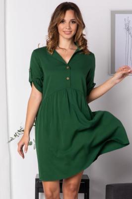 Sukienka z rozpinanym dekoltem  odcinana w talii z wiskozy  DALIA  butelkowa zieleń PROMOCJA