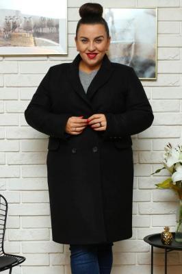Płaszcz klasyczny dwurzędowy ANGELA czarny PROMOCJA