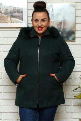 Płaszcz flauszowy kaptur z futerkiem IZA na zamek butelkowa zieleń PROMOCJA