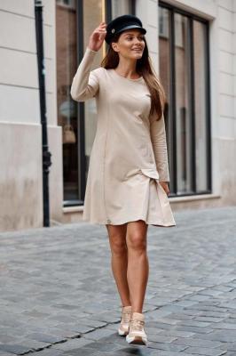 Trapezowa Sukienka z Imitacją Kieszeni - Bezowa