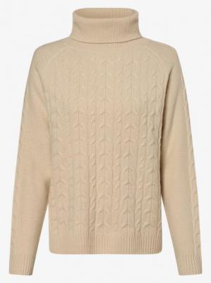 Marie Lund - Damski sweter z wełny merino, beżowy